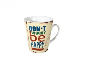 KUBECZEK DON'T WORRY BY HAPPY KUBEK RETRO NAPISAMI