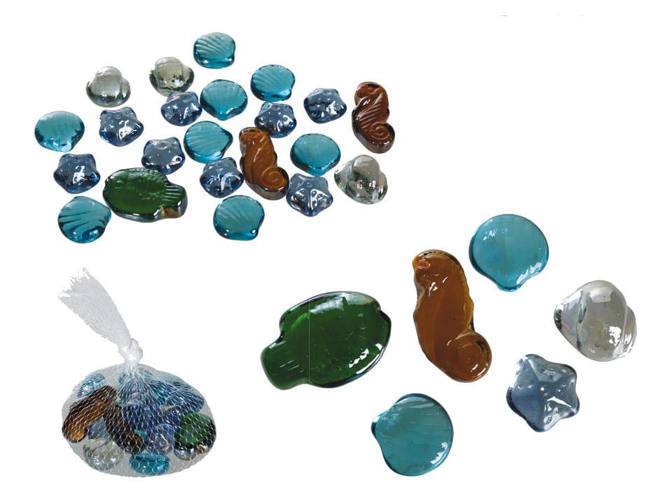 Dekoracyjne Szklane Muszelki Bryłki Kamienie Zest